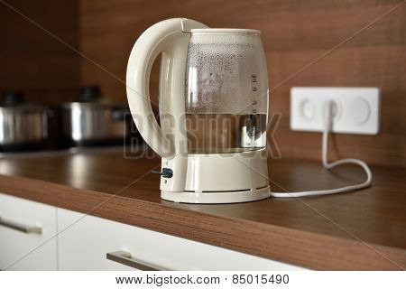 Electric glass kettle on a domestic kitchen