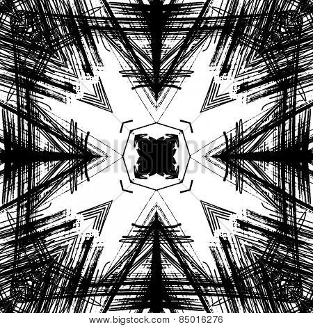 art sketched naive ornamental black pattern isolated on white background, s.4
