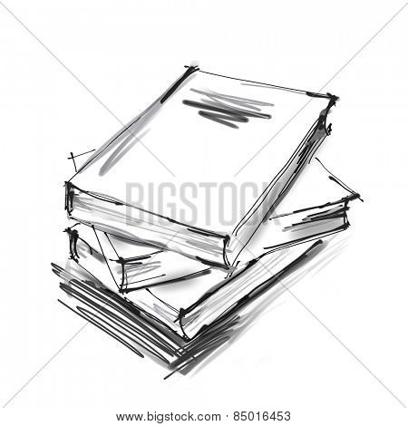 art digital graphic painted three books  isolated on white background