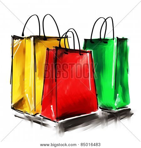 art digital acrylic painted three gold, red and green shopping bags isolated on white background