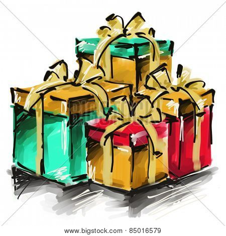 art digital acrylic painted golden, red and green giftboxes with gold bows isolated on white background