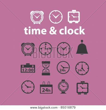 time, clock, delivery, timer, isolated icons, signs, illustrations concept design set on background for mobile application, website, adverisement, vector