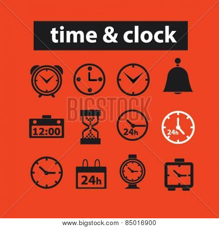 time, time management, clock, minute, hours, timer isolated icons, signs, silhouettes, illustrations,  set, vector
