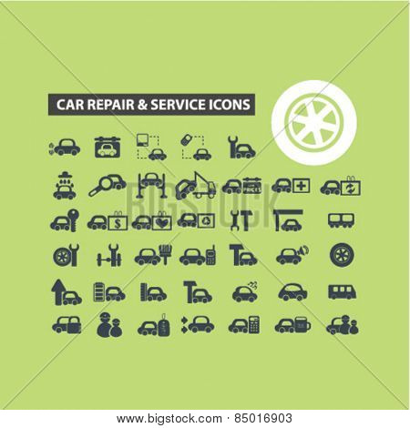 car repair services, auto station isolated icons, signs, illustrations concept design set on background for website, internet, template, application, advertising.