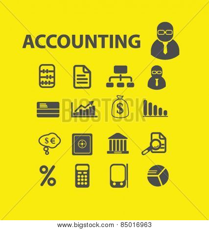 accounting, financial services isolated icons, signs, illustrations concept design set on background for website, internet, template, application, advertising.
