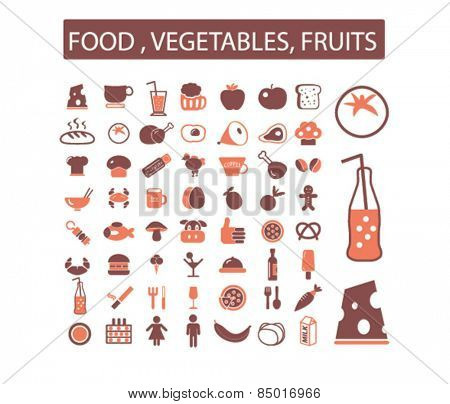 food, restaurant, drink, fruits, vegetables, grocery isolated icons, signs, illustrations concept design set on background for mobile application, website, adverisement, vector