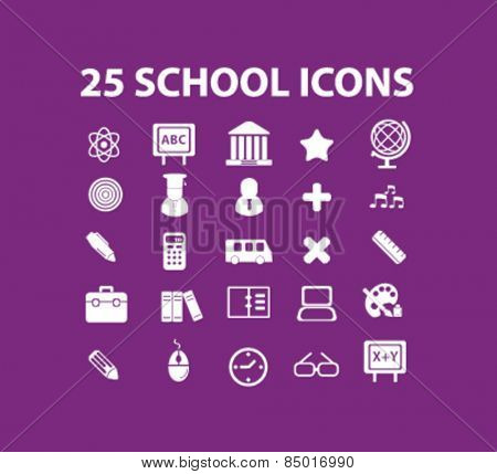 25 school, lesson, study, teaching isolated icons, signs, illustrations concept design set on background for website, internet, template, application, advertising.