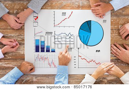 business, people, statistics and team work concept - close up of creative team sitting at table and pointing finger to paper with charts in office