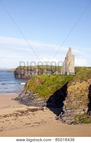 View Of The Castle Beach And Cliffs In Ballybunion
