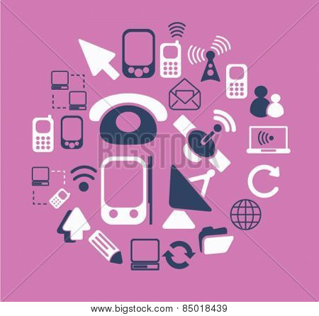 communication, connection, phone isolated icons, signs, illustrations concept design set on background for website, internet, template, application, advertising.