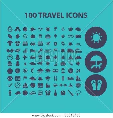 100 travel, tourism, vacation, recreation isolated icons, signs, illustrations concept design set on background for website, internet, template, application, advertising.