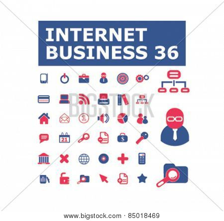 internet business, management, organization isolated icons, signs, illustrations concept design set on background for website, internet, template, application, advertising.