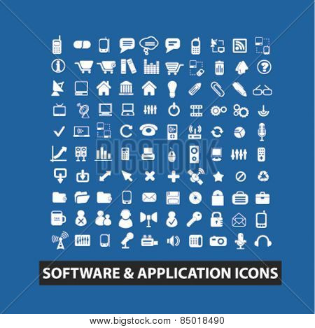 software, application, mobile isolated icons, signs, silhouettes, illustrations,  set, vector