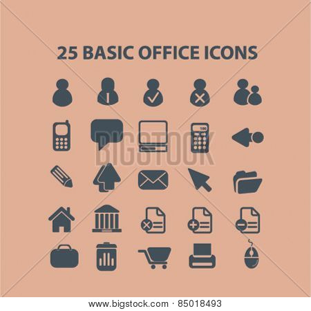 25 office, user, organization, document isolated icons, signs, illustrations concept design set on background for website, internet, template, application, advertising.