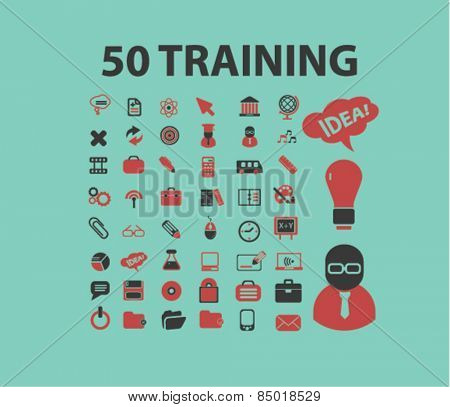 50 seminar, training, e-learning, study, lesson isolated icons, signs, silhouettes, illustrations,  set, vector