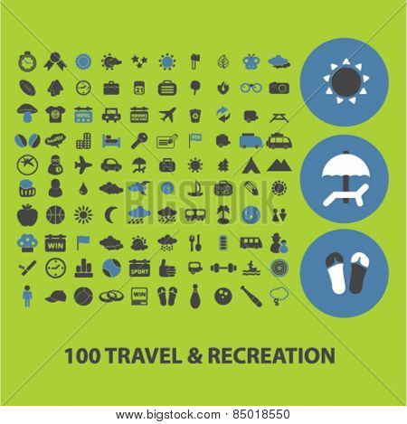 100 travel, recreation, tourism isolated icons, signs, silhouettes, illustrations,  set, vector