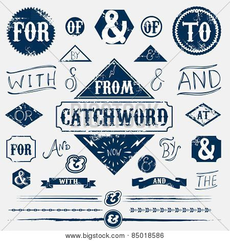 Design elements set vintage catchword