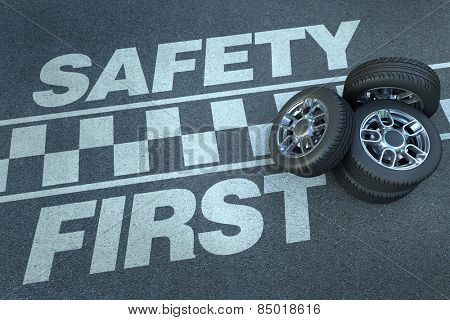 3D rendering of wheels on top of a race circuit with the words safety first