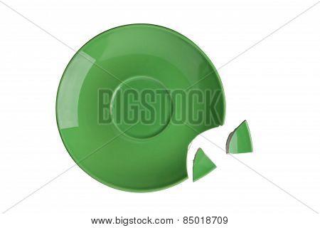 Broken Green Plate On White Background
