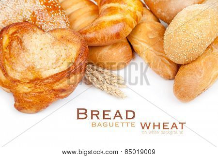 Bread, loaf, baguette, bagel, wheat on a white background