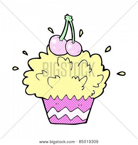 retro comic book style cartoon exploding cupcake