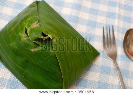 Malay Traditional Food In Banana Leaf
