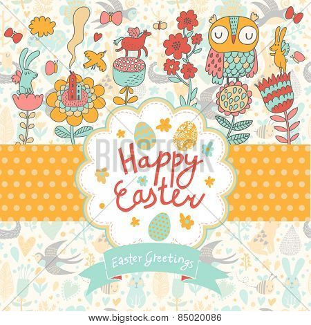 Sweet Easter card in vector. Cute happy Easter background with lovely cartoon elements - clouds, hearts, horse, owl, birds, rabbits and butterflies
