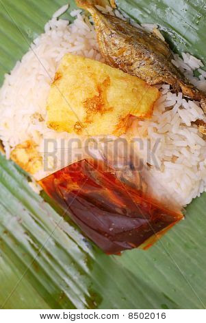 Malay Traditional Food In Banana Leaf
