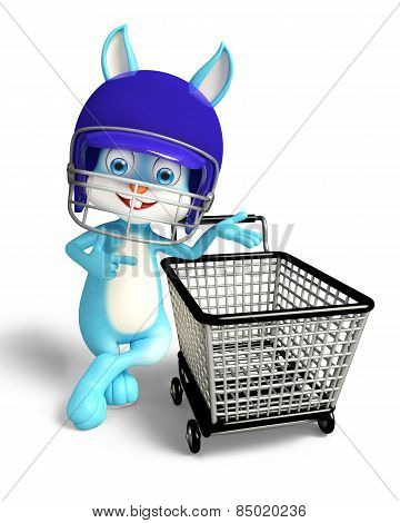 Easter Bunny With Helmet And Shopping Trolley