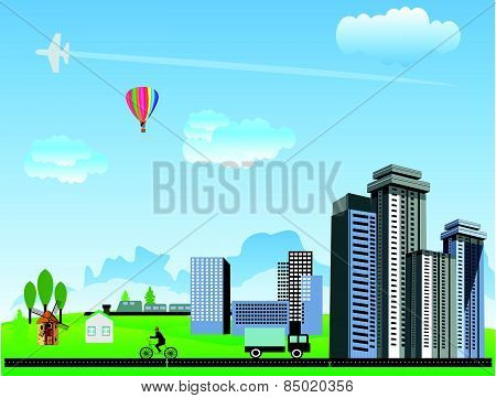 Urban and village landscape. Countryside