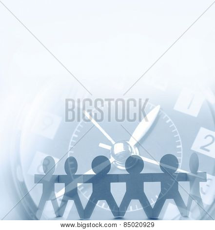 Team and clock. Advertising copy space