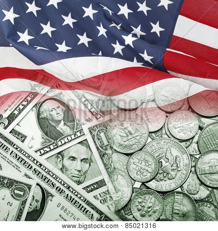 American flag on American currency