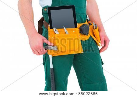 Construction worker wearing tools belt on white background