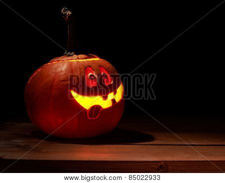 Happy jack o lantern pumpkin composition