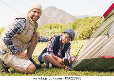 Father and son pitching their tent on a sunny day