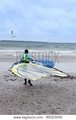 Wild Atlantic Way Windsurfer Getting Ready To Surf