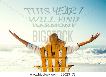 Woman relaxing in deck chair by the sea against this year i will find harmony