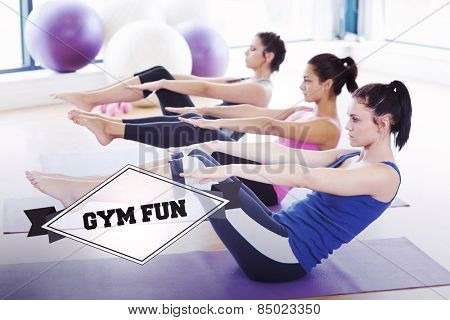 The word gym fun and class stretching on mats at yoga class in fitness studio against badge