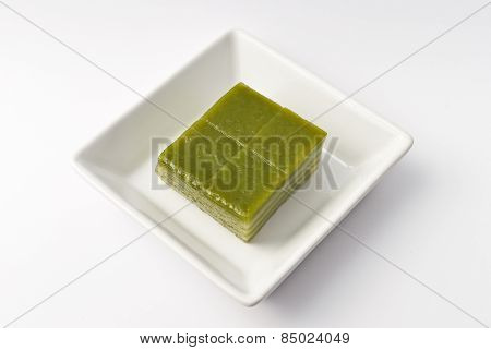 Thai Sweetmeat Or Khanom Chan Is A Kind Of Sweet Thai Dessert, In White Bowl On White Background