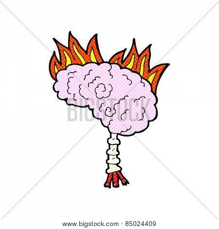 retro comic book style cartoon brain