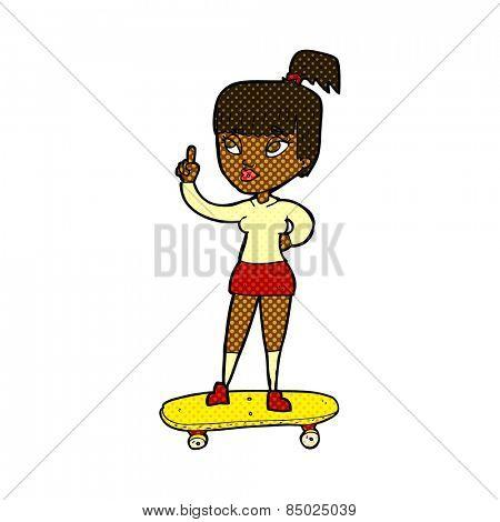 retro comic book style cartoon skater girl