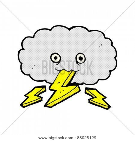 retro comic book style cartoon thundercloud