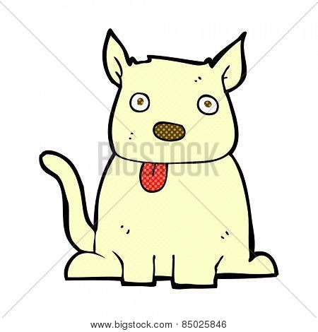 retro comic book style cartoon dog sticking out tongue
