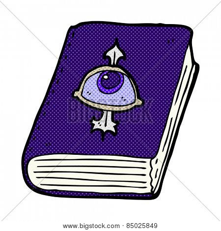 retro comic book style cartoon magic spell book