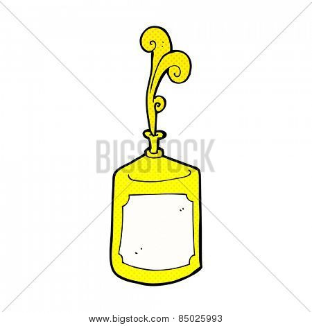 retro comic book style cartoon squirting mustard bottle
