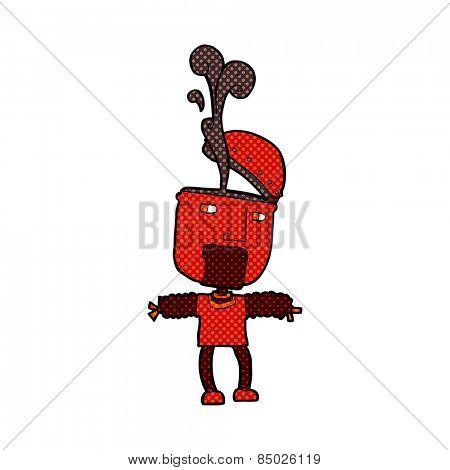 funny retro comic book style cartoon robot with open head