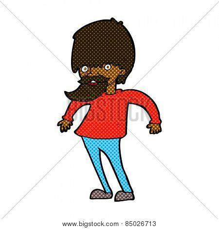 retro comic book style cartoon bearded man shrugging shoulders