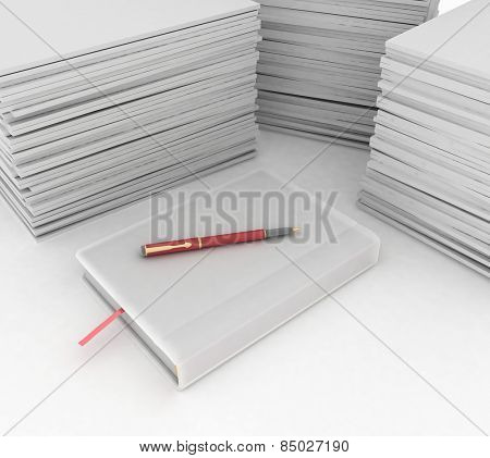 big pile of paper, notebook and pen  on white background
