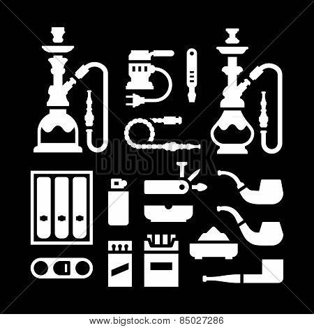 Set Icons Of Smoking Equipment And Accessories