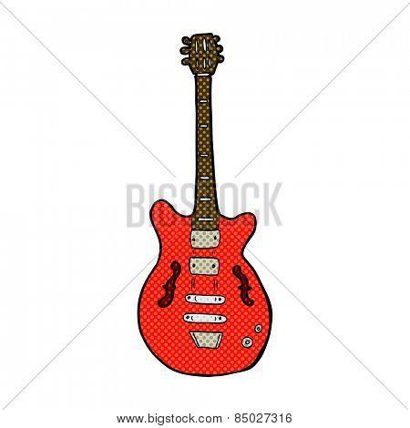 retro comic book style cartoon electric guitar